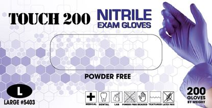 Picture of Touch 200 Nitrile Powder Free Gloves 200/bx - Emerald